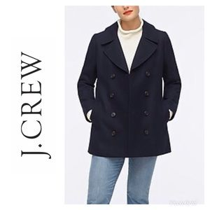 J. CREW 100% WOOL PEA COAT NAVY BLUE